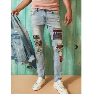 Guess PATCH DISTRESSED SKINNY JEANS